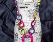 Beaded Hula Charm Wood Bead Necklace Island Jewelry
