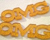 OMG Laser Cut Acrylic Glitter  Earrings in Orange