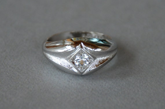 mens uncas ring karatclad 18k hge white gold electroplate faux