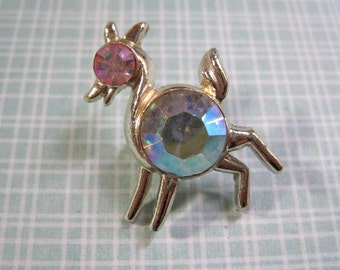 Flolicsome Deer Brooch Pink Rhinestones Silver Tone Pin Cute Tiny Estate Costume Find
