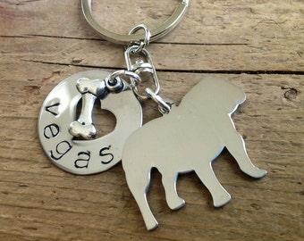 English Bulldog Custom Keychain Dog Lover, Bulldog Keyring, Bulldog Jewelry