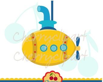 Submarine clip art -Personal and Commercial Use