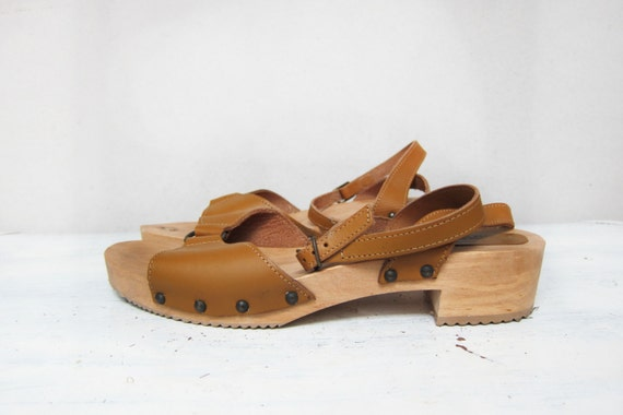Vintage Italian Wooden Platform Clogs/Sandals