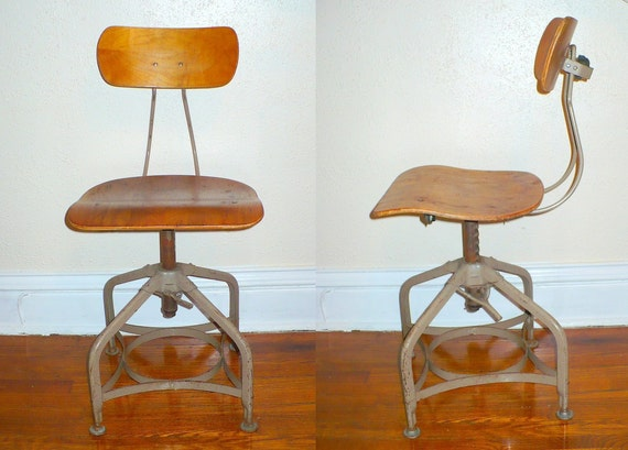 Toledo Drafting Stool Industrial Chair Wood Seat Mid Century