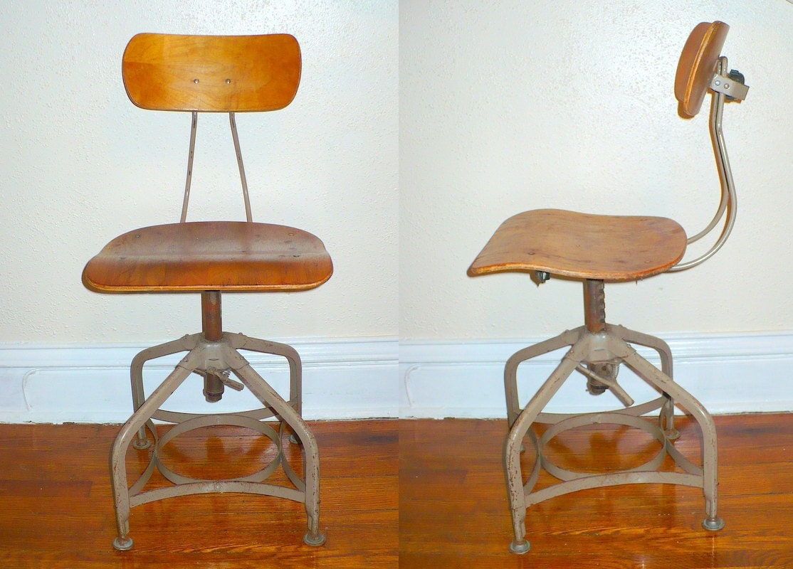 Wooden Drafting Stools ~ Toledo drafting stool industrial chair wood seat by