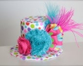 Over the Top Circus Clown Inspired Pink, Orange, Green and Blue Mini Top Hat Headband - Perfect Birthday or Alice in Wonderland Tea Party