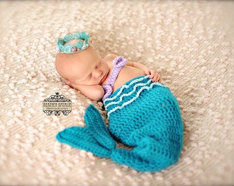Mermaid Inspired Beach Baby Knit set with Aqua Blue Lace Crown with Sea Shells and Pearls (SET) - Perfect Newborn Photo Prop