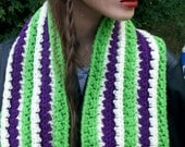 INFINITY SCARF Crochet - Grass Green, Cream and Orchid, Huge Fall SALE Fashion Scarf, Green Infinity, Crochet  Unisex infinity scarf.