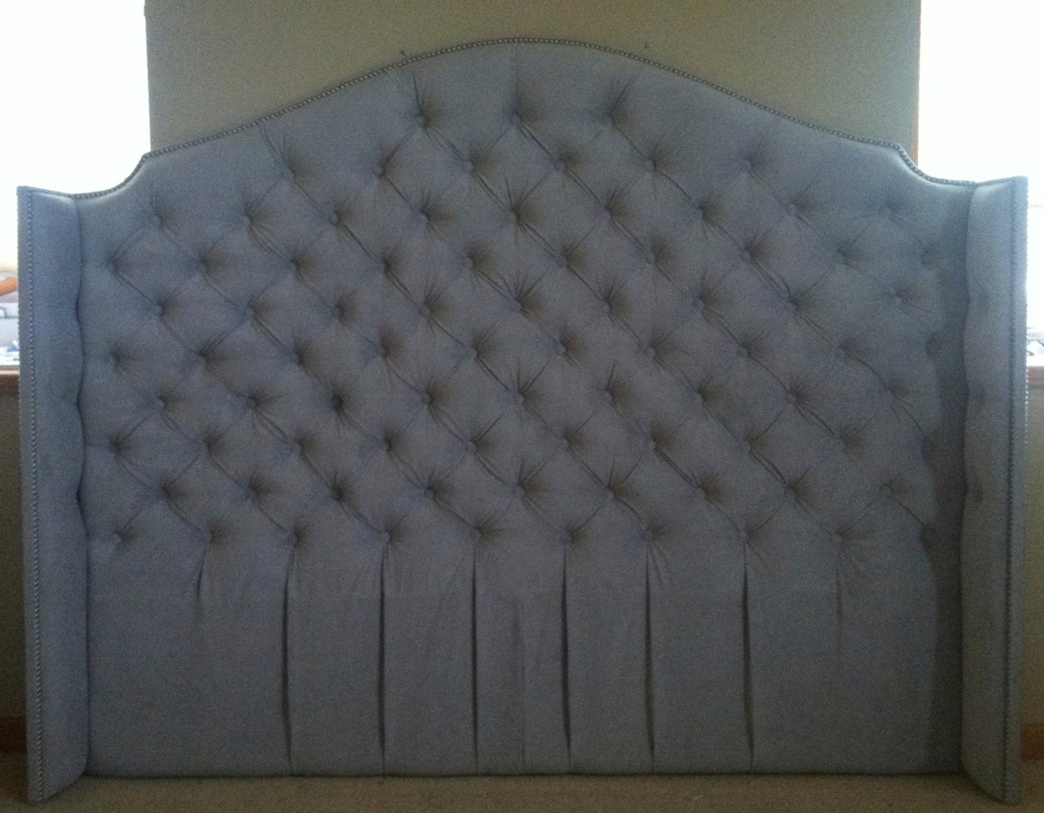 Diamond Tufted Velvet Wingback Headboard King Tall