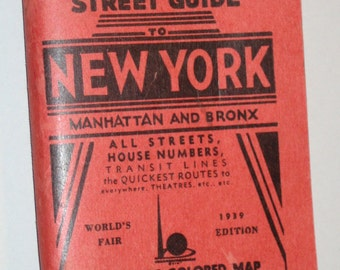 SALE 20.00 Vintage 30s New York Worlds Fair street guide pocket map
