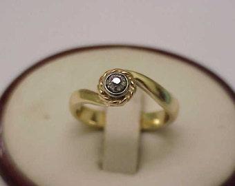 Antique Unique Victorian  14k 2-Tone   Gold Engagment .15ct Old Mine  Cut  Diamond  Ring ,1900's
