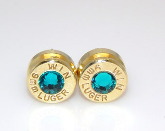 Bullet Earrings. December Birthstone . Blue Zircon . 9mm Luger