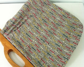 Vintage Grey Barkcloth Bag Bark Cloth Vintage Purse, Vintage Hand Bag with Wooden Handles, knitting bag, yarn bag