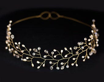 12_Bridal tiara, Wedding tiara, Wedding crown, Gold tiara, Headpiece tiara, Headband Bridal hair Accessories tiara Pearl tiara Gold headband