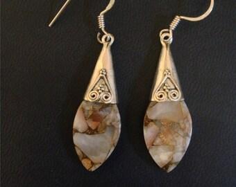 White and Tan Turquoise Earrings   Drop Earrings Rustic Jewelry