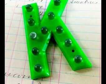 "UNIQUE Green Reflective Sign Letter K - Vintage Plastic Sign - 3"" tall"
