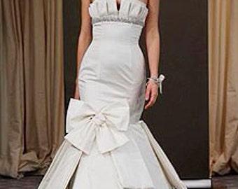 Wedding dress, wedding gown, strapless, drooped waistline, trumpet silhouette, designer dress, custom made,
