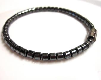 Magnetic Hematite Bracelet - Black Tubes