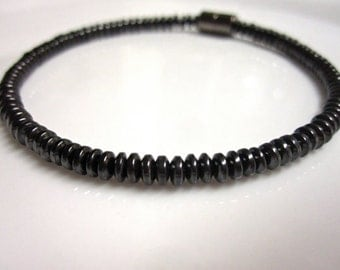 Magnetic Hematite Bracelet Unisex Domed Magnetic Bracelet, Anklet, Necklace, or Pet Collar