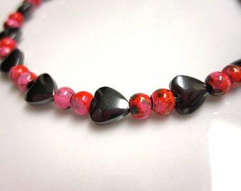 Magnetic Hematite Bracelet, Queen Of Hearts Bracelet, Therapy Bracelet