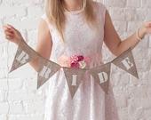 Burlap Bride Banner - Wedding Banner - Rustic Decor - Reception Decoration