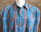 Mens 3XL western shirt, vintage, Wrangler, bright blue orange red plaid, pearl snaps (423)