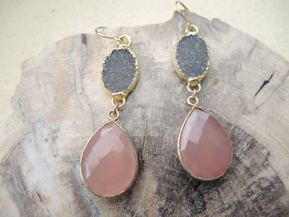 Druzy Earrings (Jasper Quartz Druzy & Pink Calcedony 18K Gold Vermeil Bezel Earrings) Druzy Stone Earrings Druzy Jewelry Chalcedony Earrings