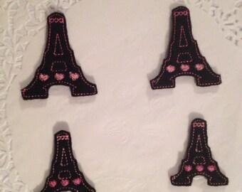 Felt embroidered Eiffel Tower Applique Set