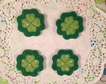 Green felt clover-set of 4
