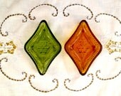 Green and Amber Trinket Dishes, Vintage Pressed Glass, Floral Pattern, Diamond Shape