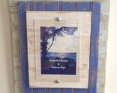 5 x 7 Distressed Handmade Picture Frame - Pale Green, Blue & White