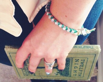 Emerald Green and White Rhinestone Friendship Bracelet * Bestfriend Gift BFF Bestie Girl Squad Bridesmaids  * Summer Tropical Boho Festival
