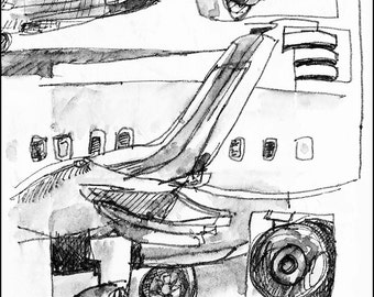 Pen and ink wash airplane travel art painting, flight art work, decorations, airline any wall art  room decor archival Print signed 8.5x11