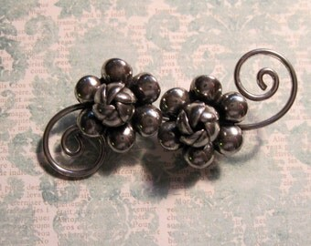 Sterling Flowers Vintage Hand Crafted Pin