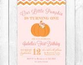 Little Pumpkin Birthday Invitation - Pumpkin & Roses Birthday Party Invite. DIY Printable Birthday Party Invitation.