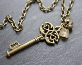Vintage Inspired Skeleton Key Necklace- Alice in Wonderland- Antique Brass Colour Chain, Semi Precious Citrine Chips