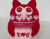 Knitted Valentine Owl