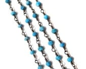 Turquoise Gemstone Beaded Chain with Black Rodhium Plating Faceted Roundelle Beads Cluster Bulk Chain supplies wholesale jewelry findings