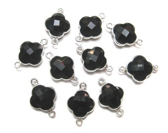1piece hot selling clover shape faceted gemstone sterling silver bezel connector link chekker cut stone findings jewelry supplies connectors