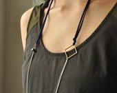 Vegan suede and chain necklace with geometric and black tourmaline accents // Choose your color of suede