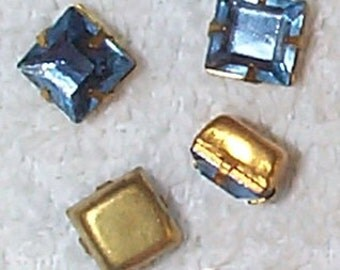 Vintage Cut and Beveled Light Sapphire Glass Stones in Brass Settings