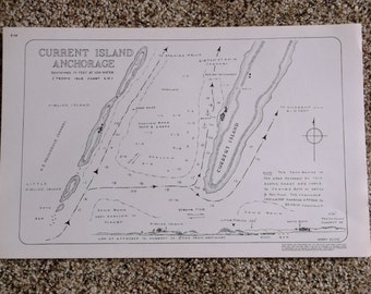 Vintage Current Island Anchorage Nautical Map 1979