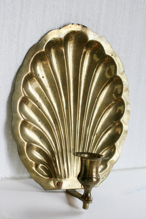 Vintage Shell Wall Lights : Vintage Brass Sea Shell Wall Sconce Hollywood Regency by AbateArts