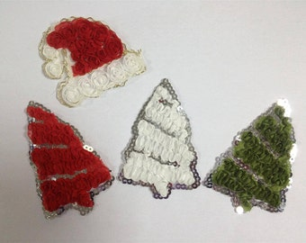 1 YD - Chiffon Santa Hats or Christmas Tress with Gold Trim or Sequins- Your Choice of Style