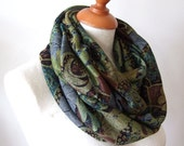 woodland unisex jersey infinity scarf, green brown and dusty blue  jersey circle scarf, chunky jersey loop scarf, back to school scarf