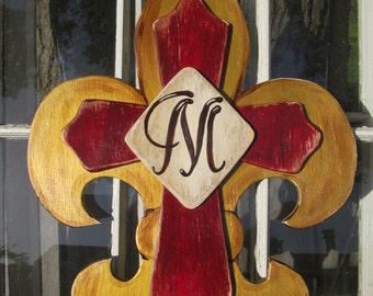 Vintage Look Fleur de lis and Cross Monogramed Wooden Door Hanger