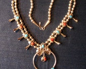 Gorgeous Turquoise Coral Sterling Squash Blossom Necklace