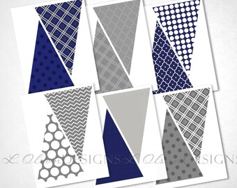 Navy and Gray Pennant Banner - DIY Printable - INSTANT DOWNLOAD