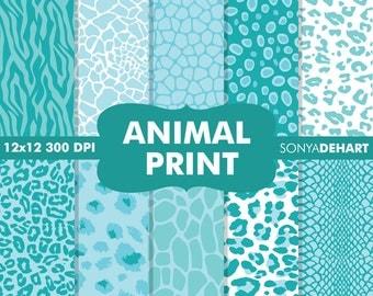 Digital paper, animal print, scrapbook paper, animal prints, animal print digital, digital paper pack, safari digital paper