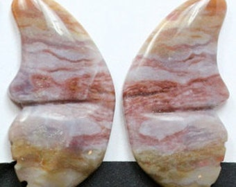 Beautiful Jasper Butterflies - Pair of Two (2) Cabochons for Setting as Earrings, Jewelry Making, Craft Supply, Collectibles